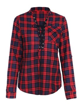 Ericdress Print Plaid Tie Front Long Sleeves Womens Top