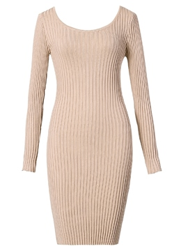 Ericdress Bodycon Knit Simple Women's Dress