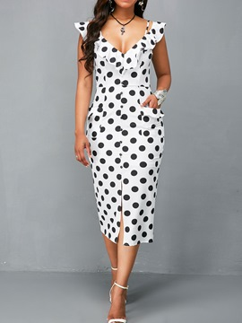 Ericdress V-Neck Polka Dots Backless Pocket Bodycon Dress