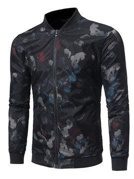 Ericdress Floral Printed Stand Collar Slim Mens Casual Jacket