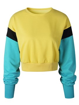 Ericdress Color Block Cropped Loose Sweatshirt