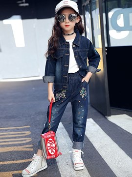 Ericdress Embroidery Floral Printed Denim Coat & Jeans Girl's Outfits