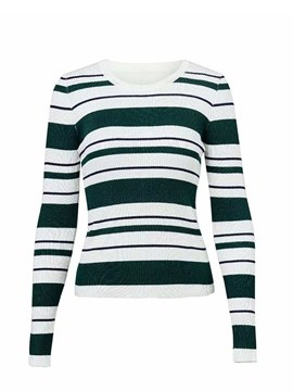 Ericdress Stripe Slim Roll-up Long Sleeves Knitwear