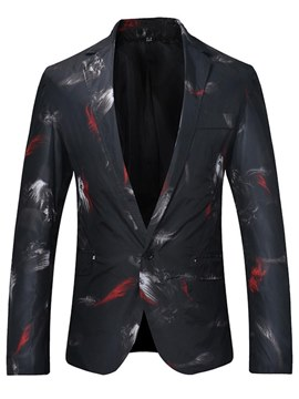 Ericdress Printed Slim Fit One Button Mens Casual Ball Blazer