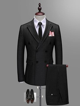 Ericdress Stripped Blazer Pants Vest Mens Casual Business Suits