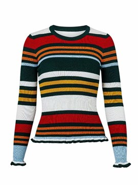 Ericdress Stripe Stringy Selvedge Casual Long Sleeves Knitwear