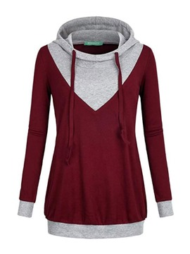 Ericdress Color Block Loose Mid-Length Cool Hoodie