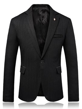 Ericdress Plain Slim One Button Notched Lapel Mens Casual Blazer