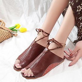 Ericdress PU Strappy Lace-Up Toe Ring Flat Sandals