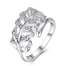 Ericdress Leafage Diamante zircon Ring For Women/Men