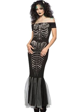 Ericdress Slash Neck Skull Scary Halloween Costume Fishtail Skirt