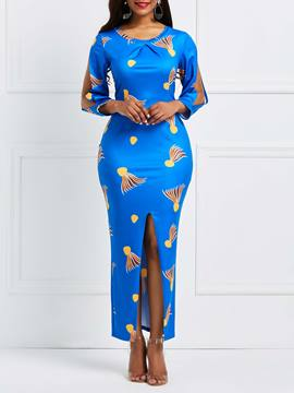 Ericdress Asymmetrical Split Print Women's Dress