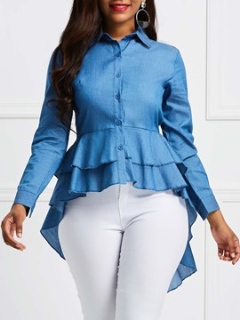 Ericdress Button-Down Plain Ruffles Denim Womens Top