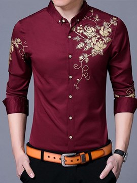 Ericdress Floral Printed Slim Fitted Mens Button Down Shirts