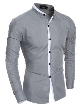 ericdress collar de pie bloque de color mens camisas de vestir casuales