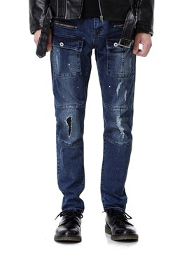 Ericdress Plain Pocket Straight Mens Casual Ripped Jeans