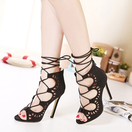 Ericdress Cross Strap Hollow High-Cut Stiletto Sandals