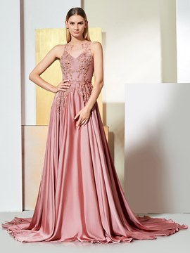 Ericdress A Line Applique Long Evening Dress With Button Back