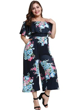 Ericdress Off Shoulder Floral Wide Legs Women's Jumpsuits