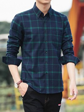Ericdress Plaid Loose Button Up Mens Casual Shirts