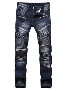 Ericdress Plain Pleated StraIght Zipper Mens Ripped Jeans