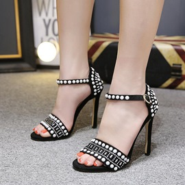 Ericdress Rhinestone Beads Heel Covering Stiletto Sandals