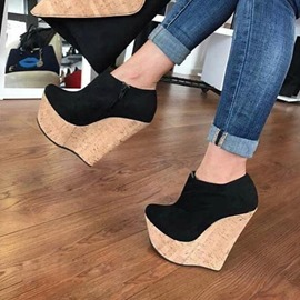 Ericdress Suede Platform Round Toe Wedge Sandals