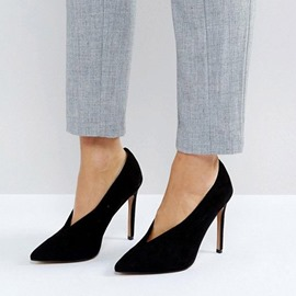 Ericdress Suede Pointed ToeSlip-On Stiletto Heel Pumps