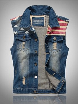 Ericdress Stripped American Flag Printed Slim Mens Casual Vest