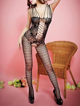 Eridress Hollow Jacquard Crotchless Pantyhose Fishnet Body Stockings
