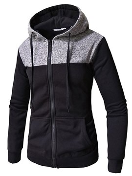 Ericdress Patchwork Hooded Cardigan Mens Casual Hoodies