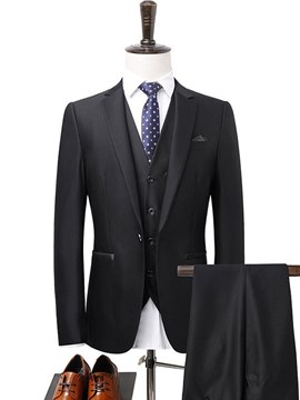 Ericdress Plain Casual Business Wedding Mens 3 Pieces Suits