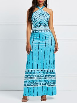Ericdress Sky Blue Geometric Halter Pullover Maxi Dress
