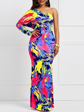 Ericdress Tie Dye Oblique Collar One-Shoulder Backless Maxi Dress
