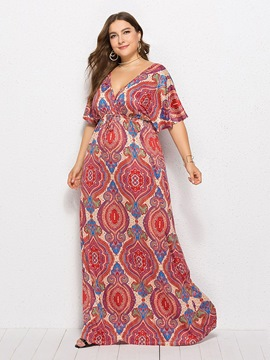 Ericdress Plus Size Floor-Length African Fashion Half Sleeve Expansion Floral Dress