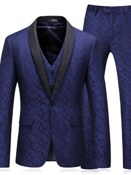 Ericdress Blue Printed Mens 3 Pieces Casual Business Suits