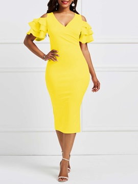 Ericdress V-Neck Ruffles Hollow Sweet Bodycon Dress