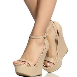 Ericdress Plain Line-Style Buckle Platform Wedge Sandals