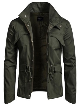 Ericdress Plain Slim FItted Zip Pocket Designed Mens Casual Jacket