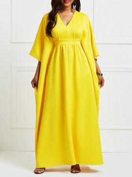 Ericdress Yellow V-Neck Batwing Sleeve Patchwork Maxi Dress