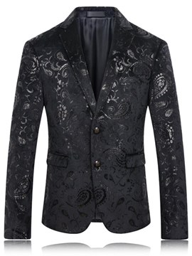 Ericdress Black Floral Printed Slim Fitted Mens Casual Ball Wedding Blazer