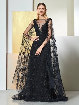 Ericdress A Line Black Lace Prom Dress With Court Train