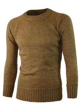 Ericdress Plain Scoop Mens Sweater With Elbow Patches