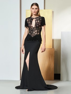 Ericdress Short Sleeve Mermaid Black Evening Dress With Side Slit