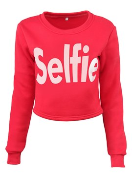 Ericdress Print Letter Slim Long Sleeves Cropped Sweatshirt