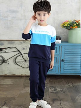 Ericdress Color Block Pullover T Shirts & Pants Boy's Outfits