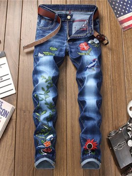 Ericdress Floral Embroidery Straight Plain Mens Jeans