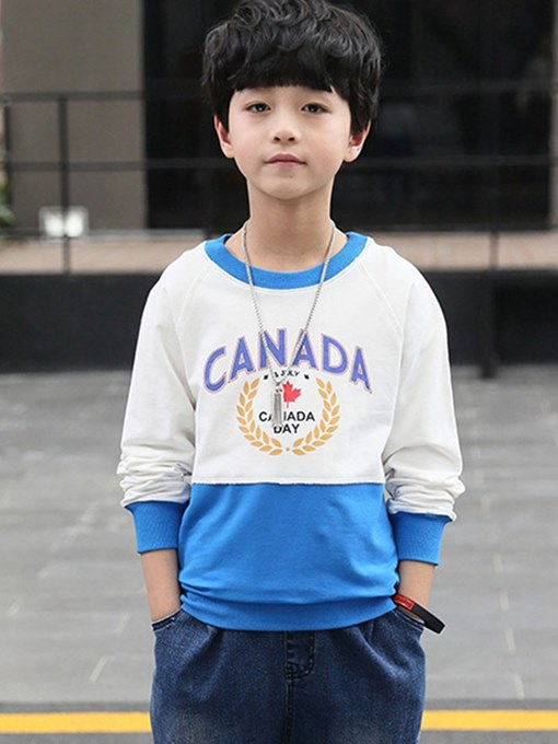 Ericdress Printed Patchwork Loose Scoop Boy's Casual Hoodies