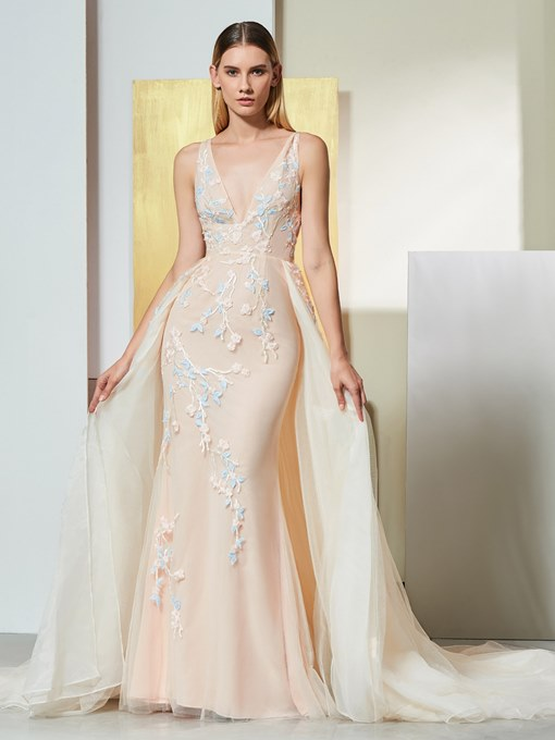 Ericdress V Neck Applique Mermaid Evening Dress With Court Train