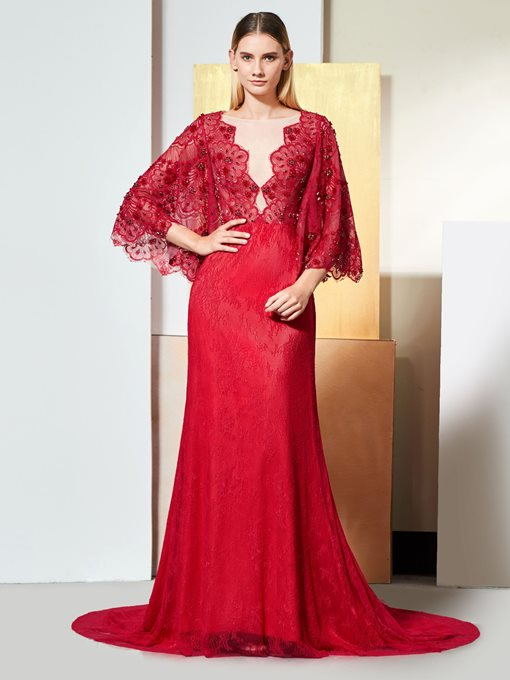 Ericdress 3/4 Sleeve A Line Lace Evening Dress With Beadings